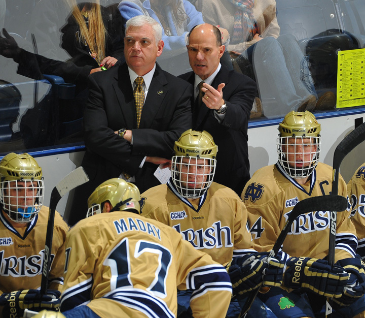 Jeff Jackson and Paul Pooley are ready to open practice with the Irish hockey team on Saturday, Oct. 6 at 9:00 a.m.