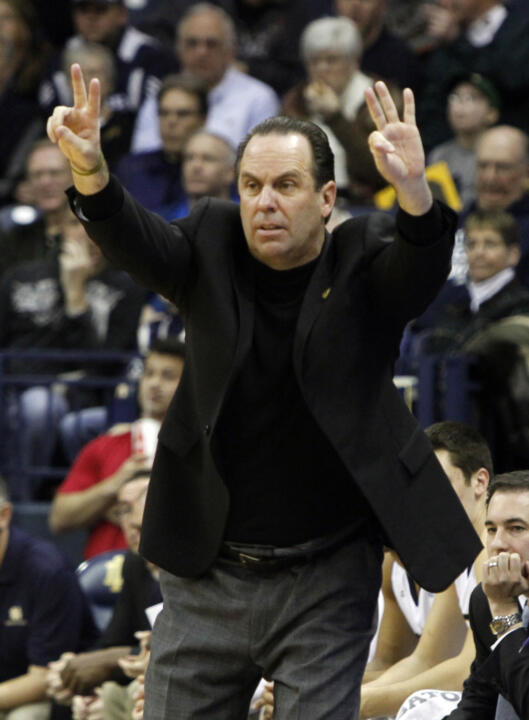 Irish head coach Mike Brey in action Feb. 11th against DePaul.