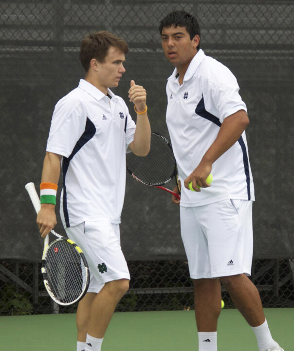 Greg Andrews (left) and Spencer Talmadge (right) lost in the finals of the USTA/ITA Midwest Regional Championships on Monday.