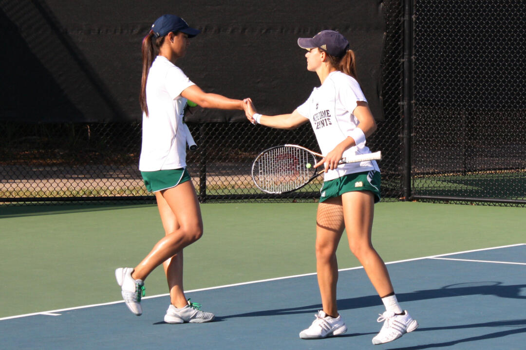 Britney Sanders and Julie Sabacinski won their fifth straight doubles match to open the fall season Friday