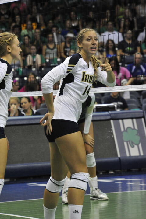 Senior Hilary Eppink led the Irish in kills with nine in a 3-0 win over Villanova on Sunday.
