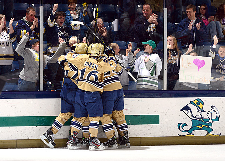 The Irish celebrate David Gerths' game-tying goal against USA Under-18 Team.