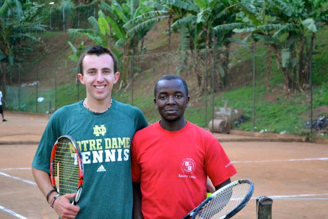 Sophomore Dougie Barnard volunteered in Uganda this summer, teaching tennis to local citizens.