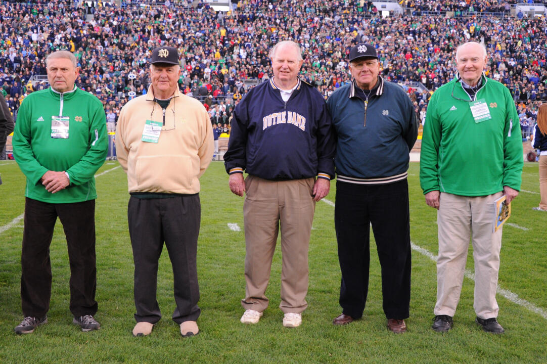(left to right): Elmer Kohorst ('57) and Jim Morris ('58) were honored on the field prior to the Notre Dame-BYU football game as members of the 1957 Notre Dame baseball team that reached the College World Series (photo courtesy of Mike Bennett).