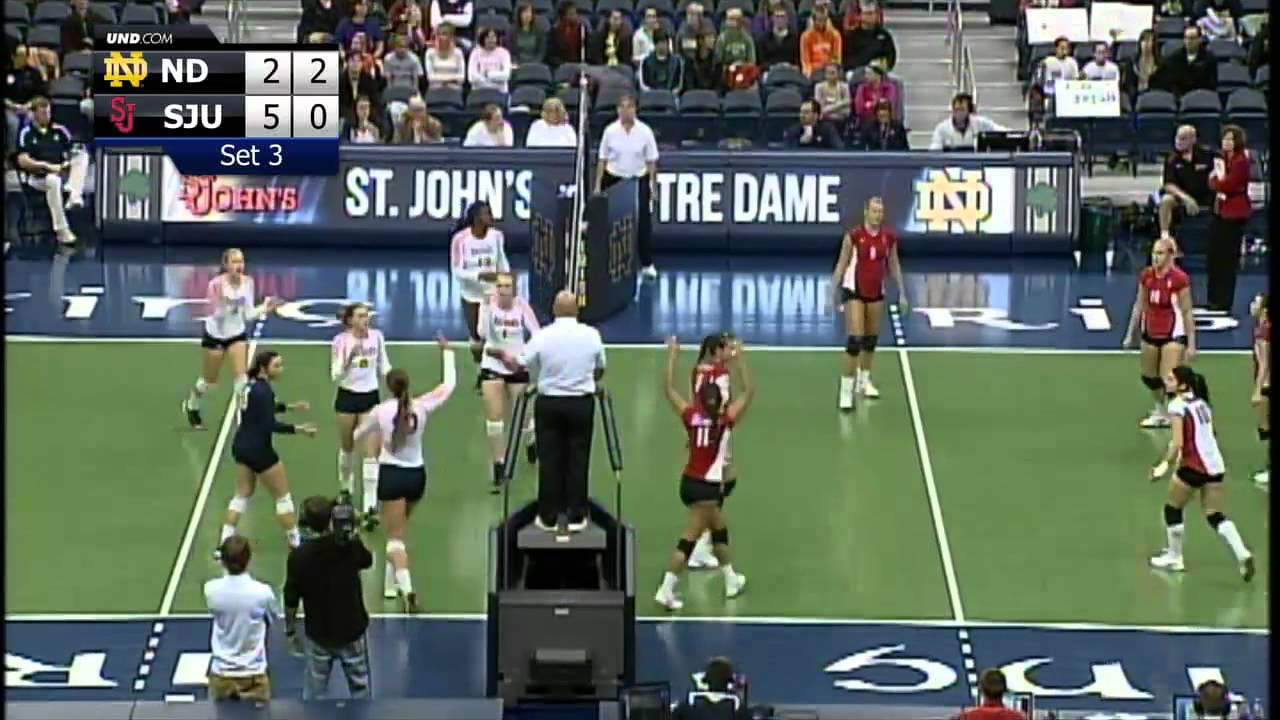 Stopping St. Johns, 3-1 - Notre Dame Volleyball