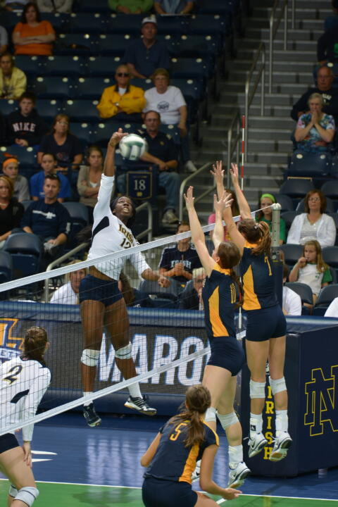 Sophomore Toni Alugbue led the Irish in kills with 10 in a 3-0 loss to Marquette on Sunday.