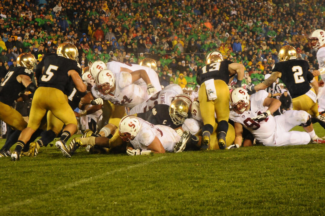 Notre Dame stopped Stanford on back-to-back plays from the one-yard line in overtime to secure a 20-13 victory over the No. 17 Cardinal on Oct. 13, 2012.