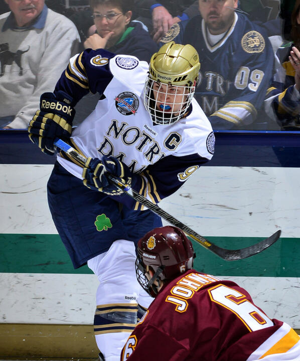 Notre Dame junior captain Anders Lee was named the CCHA Postgame Offensive Player of the Week for the week ending Nov. 4 as he had three goals and an assist in a split with Western Michigan.