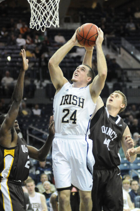 Sophomore Pat Connaughton had 12 points, eight rebounds and six assists in Monday's exhibition win over Quincy.