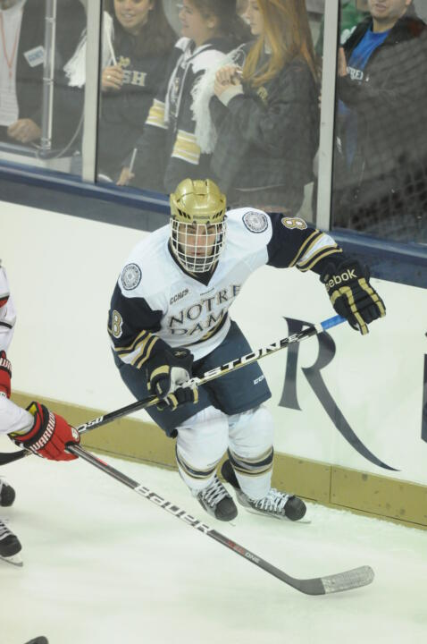 Senior defenseman Sam Calabrese leads a veteran Irish defense against Alaska this weekend at the Compton Family Ice Arena.