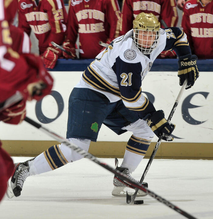 Junior right wing Bryan Rust's first-period goal gave Notre Dame a 1-0 lead at Bowling Green.
