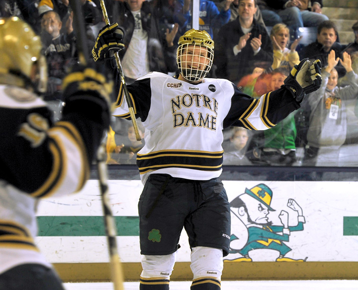 Center David Gerths turned in a strong performance in Notre Dame's 5-2 win over Ferris State on Jan. 26.