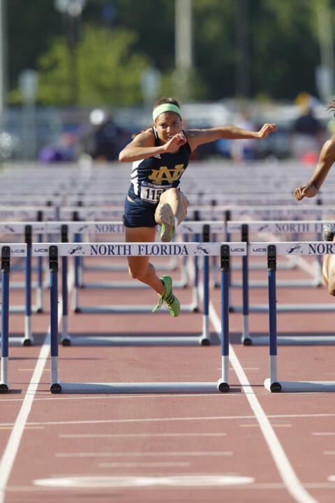 Sophomore Jade Barber won the 60m hurdles and ran a leg of the winning 4x400m relay team last weekend.