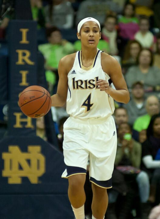 Senior guard Skylar Diggins had 19 points in Notre Dame's 73-72 win at #1 Connecticut on Saturday, including the two decisive free throws with 49.4 seconds left.