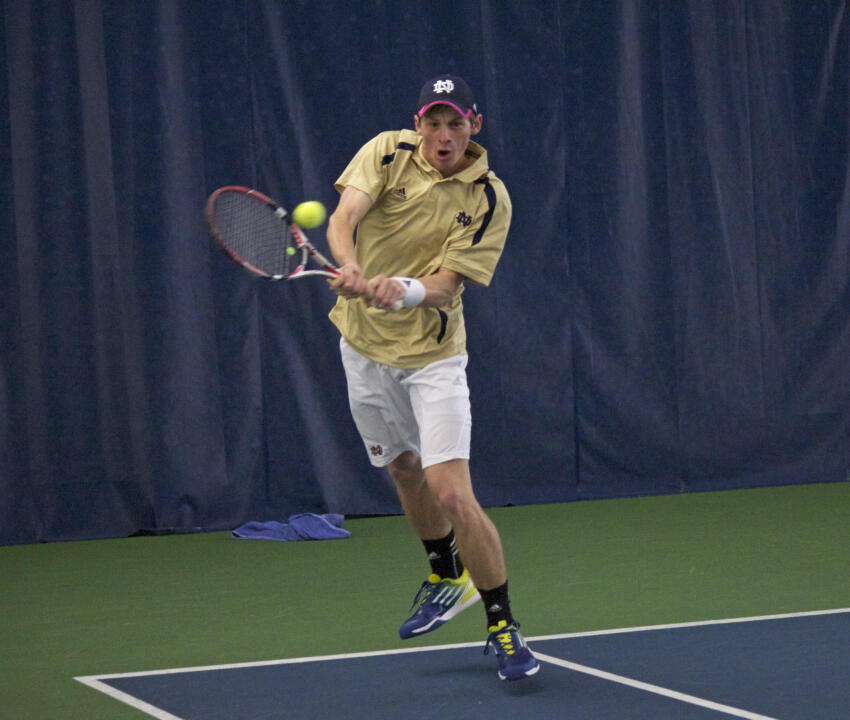 Freshman Alex Lawson earned the first singles win of his career Saturday against Western Illinois.