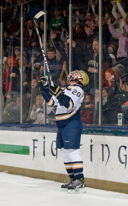 Kevin Nugent celebrates his first collegiate goal, the game winner versus Ferris State.