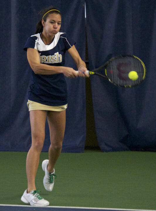 No. 74 Britney Sanders won at No. 1 singles in straight sets Sunday afternoon.