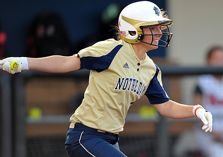 Notre Dame outfielder Emilee Koerner hit her team-leading third double of the season Saturday night against San Diego State