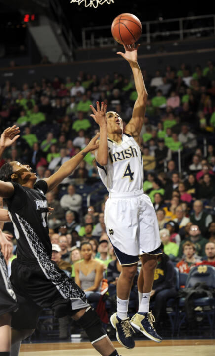 Senior guard/co-captain Skylar Diggins needs three rebounds to become the first Notre Dame women's basketball player (and second Fighting Irish cager of either gender) to compile 2,000 points/500 rebounds/500 assists in her career.