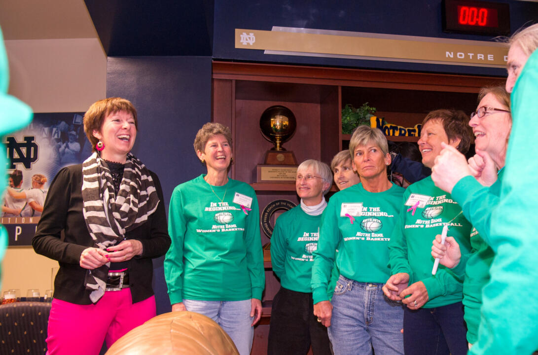 Irish head women's basketball coach Muffet McGraw met and discussed topics on women's sports with the reunion group following the game against Cincinnati.