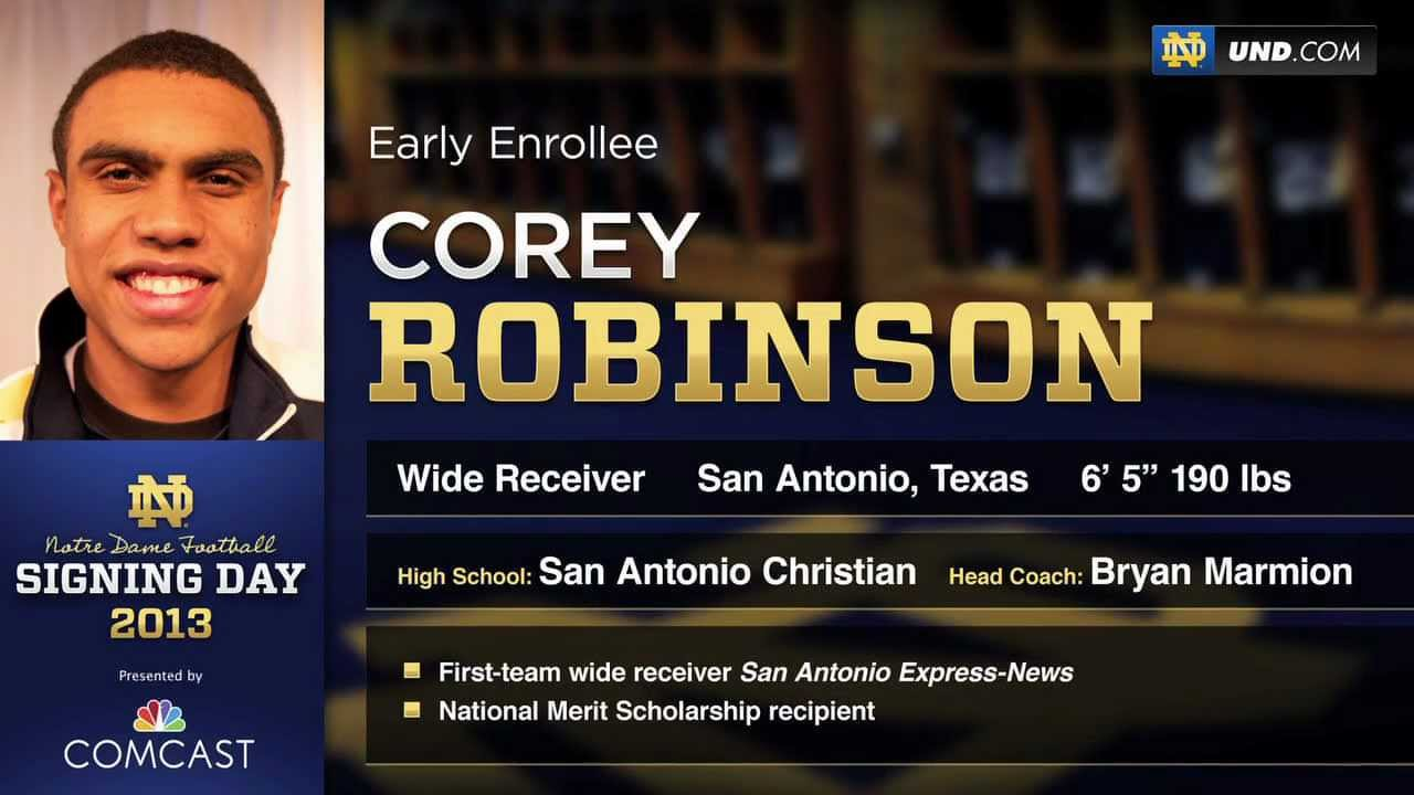 Corey Robinson - 2013 Notre Dame Football Signee