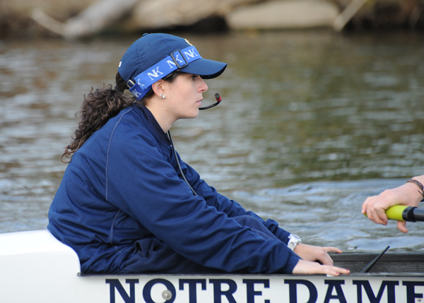 Coxswain Abby Meyers helped guide the Notre Dame first varsity eight to a pair of victories last weekend
