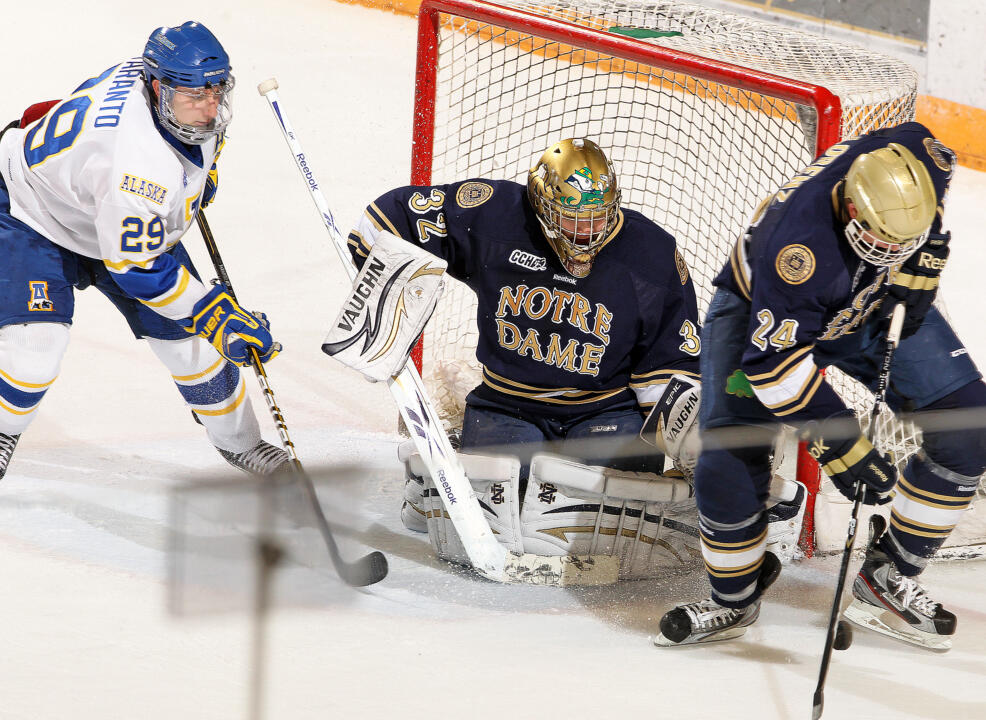 Mike Johnson made 26 saves on Senior Night to lead the Irish to a 4-1 win over Bowling Green.