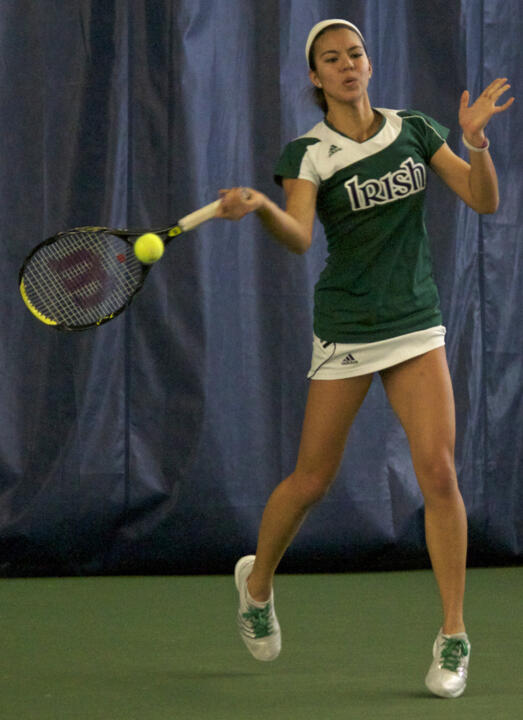 No. 48 Britney Sanders is 7-3 in her last 10 matches at first singles for Notre Dame