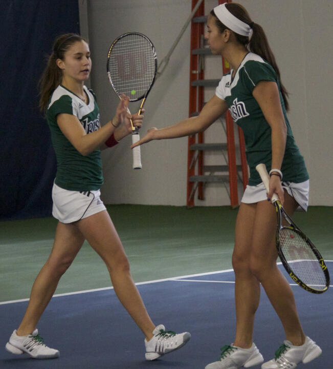 Julie Sabacinski and Britney Sanders have won three straight matches at No. 2 doubles for Notre Dame