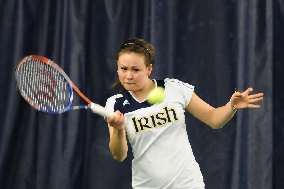 Senior Chrissie McGaffigan won her ninth singles match of the season against DePaul Saturday