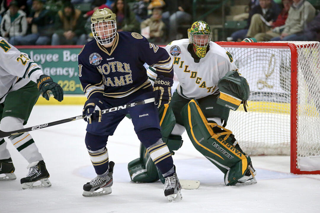 Junior right wing Bryan Rust scored the game winner at 1:22 of overtime to give the Irish a 1-0 victory and a 1-0 lead in the best-of-three quarterfinal series.