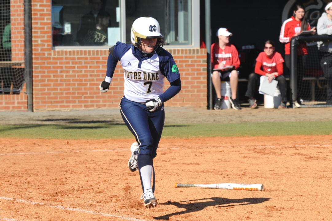 Jenna Simon scored two runs in Notre Dame's 10-2 victory over Seton Hall Sunday