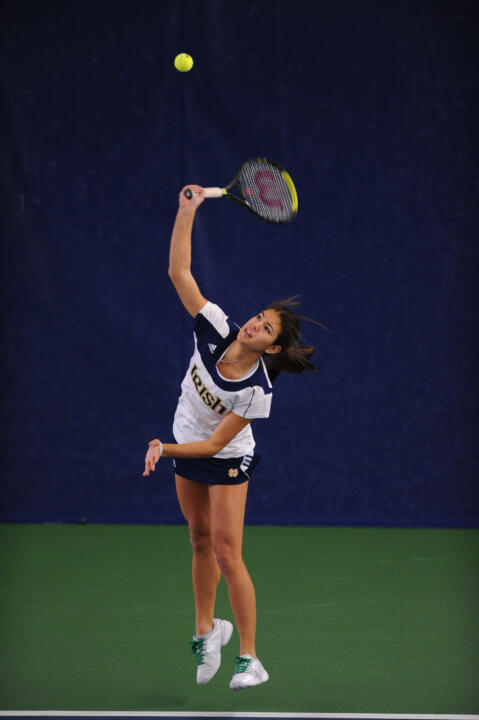 A three-set win by Britney Sanders at No. 1 singles clinched Notre Dame's 18th straight BIG EAST Championship match berth