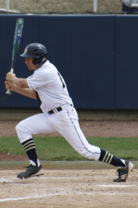 Sophomore left fielder Mac Hudgins hit his first home run of the season in Notre Dame's 12-2 win over Connecticut.