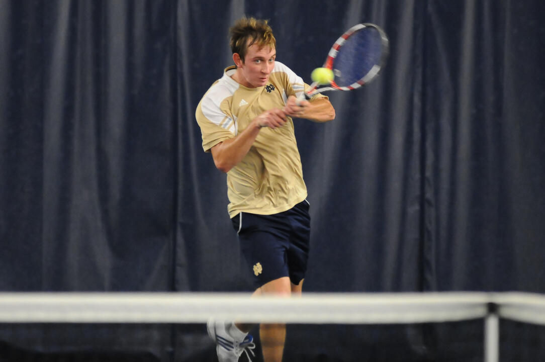 Senior Michael Moore won a pair of singles matches on Senior Day Saturday.