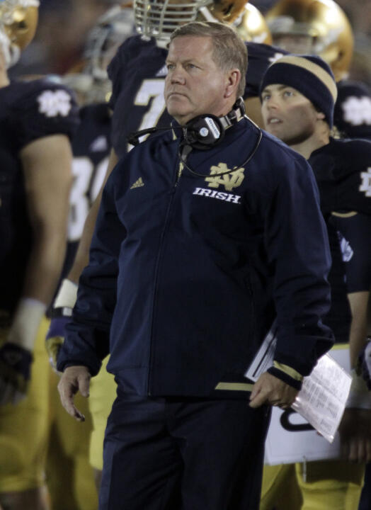 Brian Kelly and the Irish will begin playing five ACC teams each season beginning with the 2014 season.