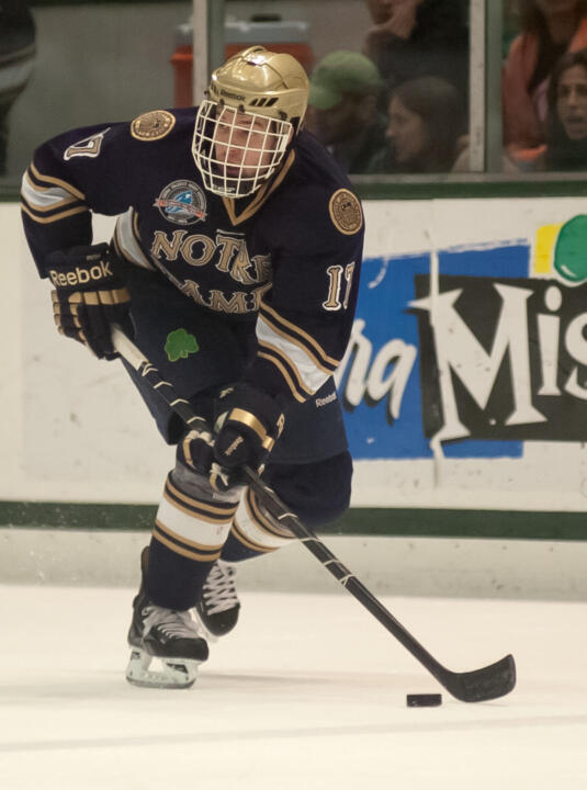 Senior left wing Nick Larson began his professional hockey career on April 13 with the Peoria Rivermen in the American Hockey League.