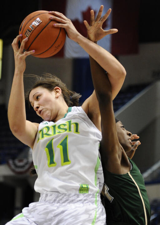 Junior forward Natalie Achonwa is the first Notre Dame player to post three consecutive double-doubles in the NCAA tournament since Jacqueline Batteast in 2004.