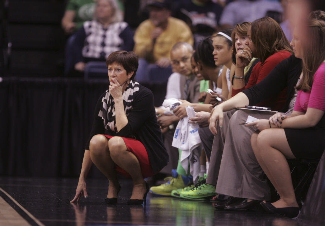 Notre Dame head Muffet McGraw is closing in on being the 2012-13 consensus National Coach of the Year, earning that honor from a third different organization in the past week when she receives the Women's Basketball Coaches Association (WBCA) National Coach of the Year award Monday night in New Orleans.