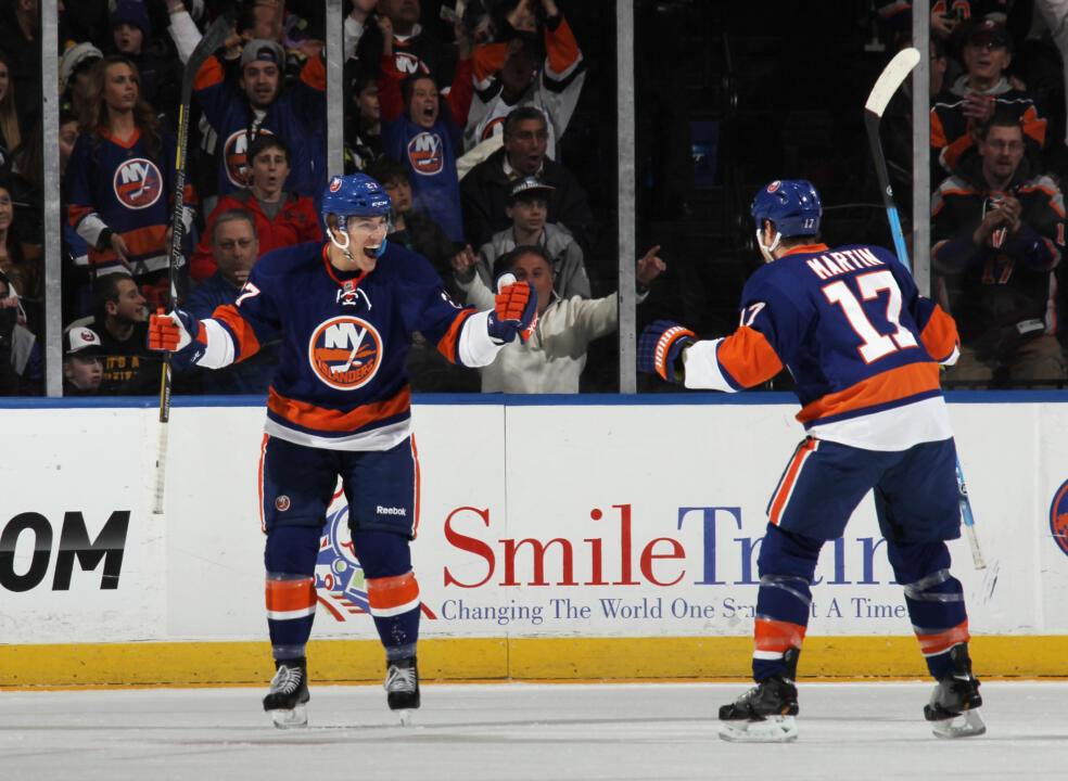 Anders Lee celebrates his first NHL goal as a member of the New York Islanders.