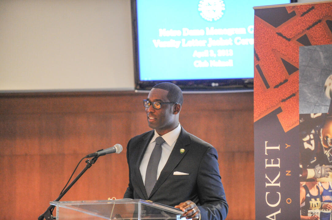 Lake Dawson ('94 football) served as the keynote speaker (photo by Lighthouse Imaging).