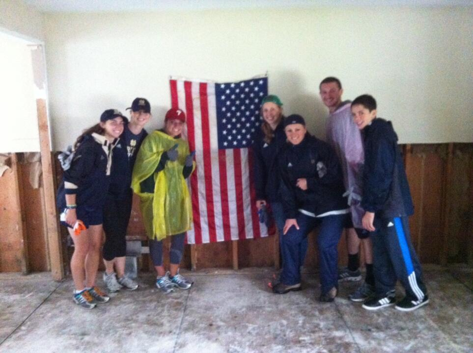 Student-athletes from the wome's rowing, softball, and men's baseball teams traveled to Sayreville, N.J. to help clean up from Hurricane Sandy.