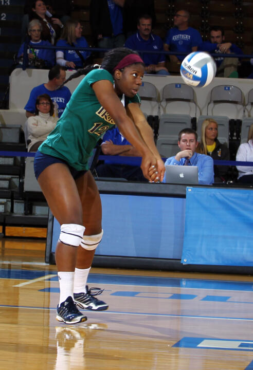 Junior Toni Alugbue earned a spot on the all-tournament team after totaling 35 kills and 22 digs over the weekend.