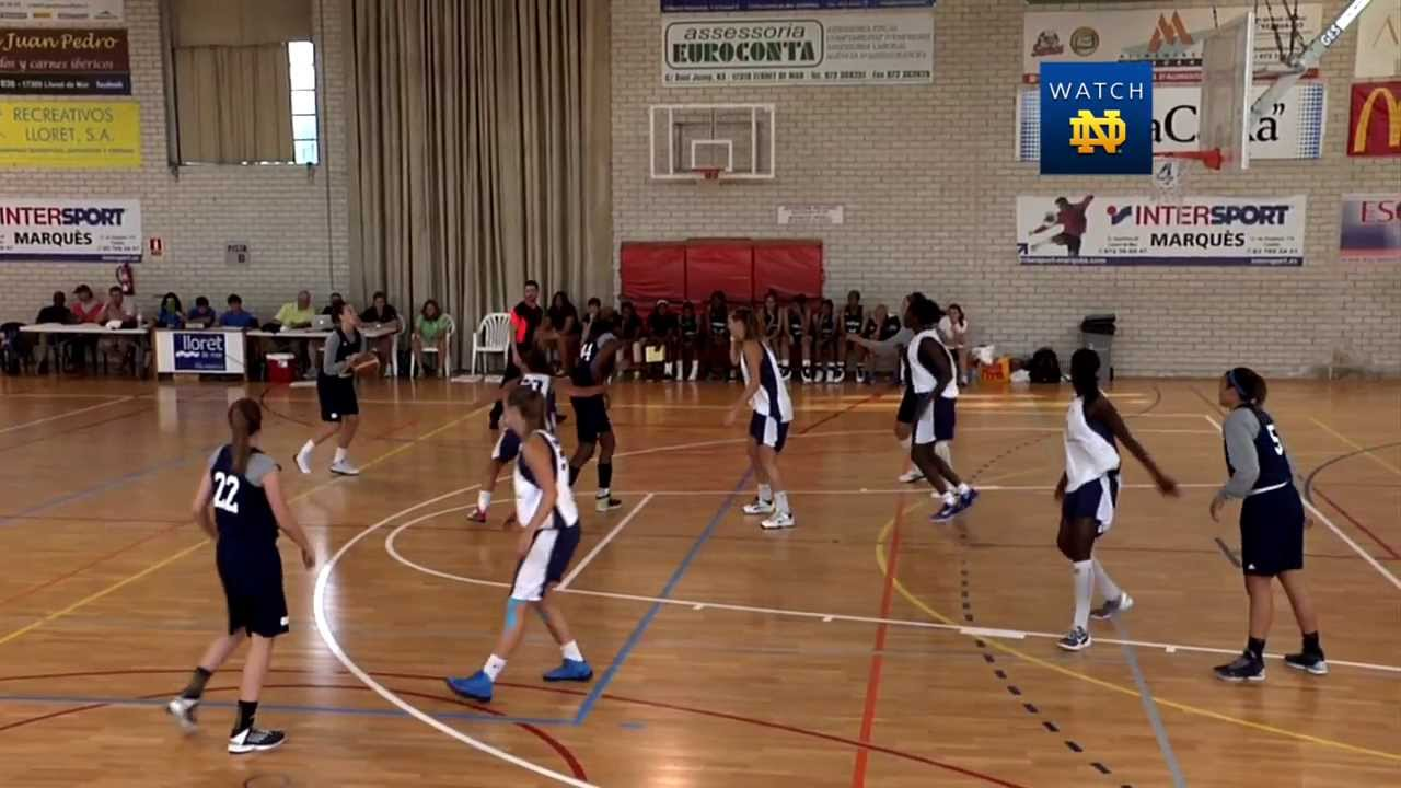 Notre Dame Women's Basketball Defeat French All-Stars in Barcelona