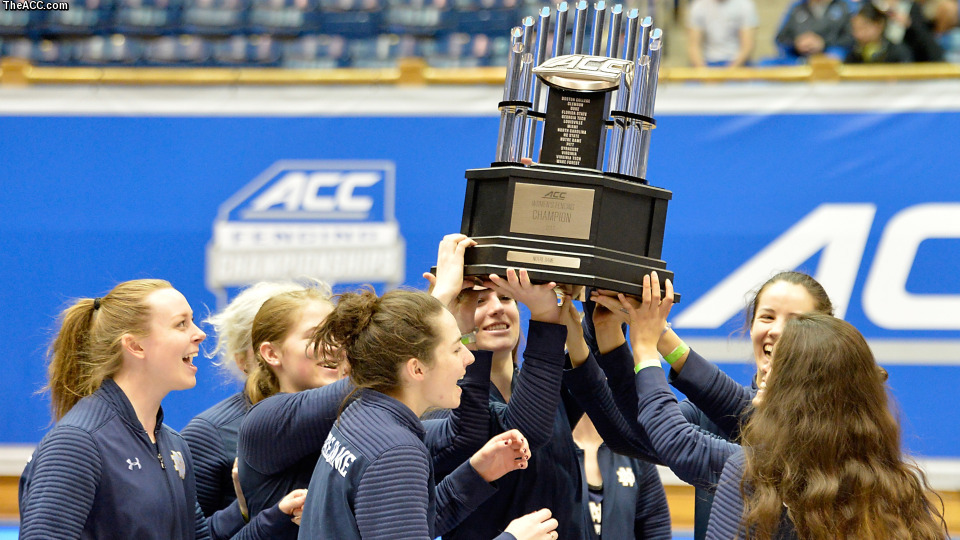 The Notre Dame women's fencing team celebrates winning the 2017 ACC Championships.