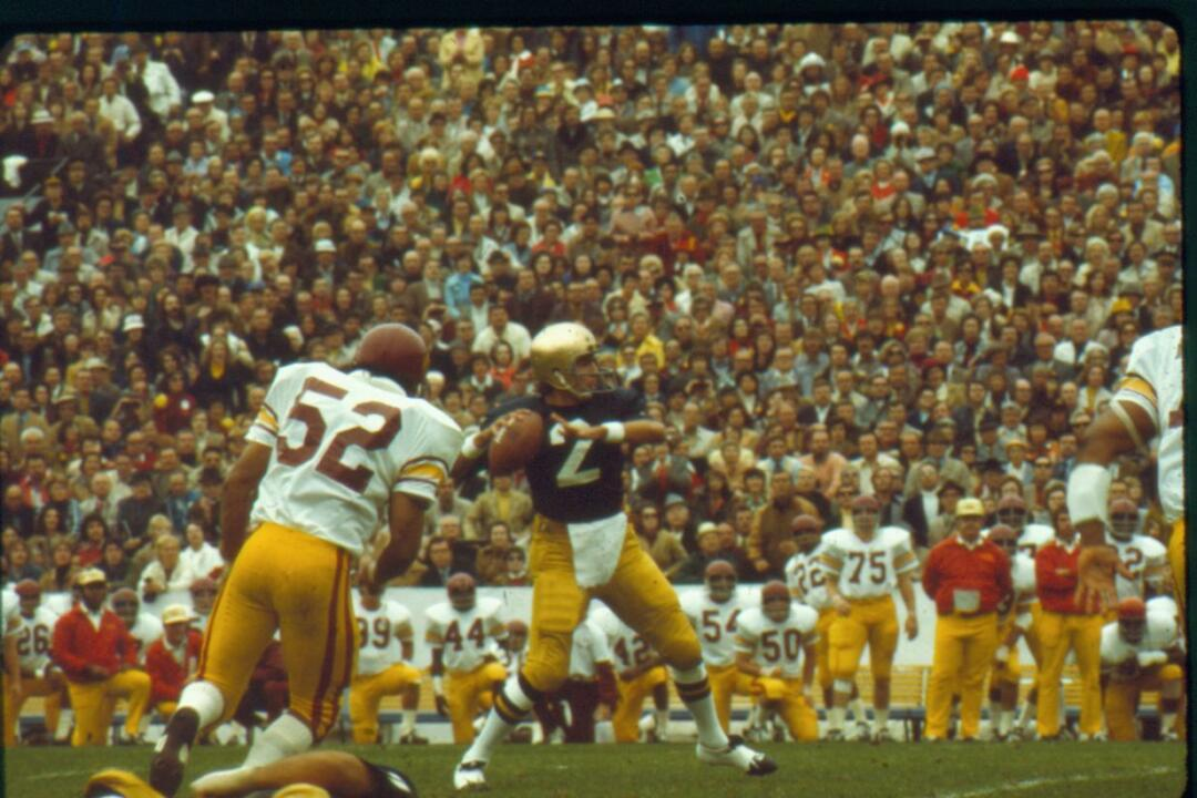 Tom Clements led Notre Dame to an undefeated 11-0 campaign  in1973 as the first Irish squad to win 11 games in a season.  Notre Dame's 23-14 win against USC on October 27, 1973 was one of the team's signature wins en route to the national championship.