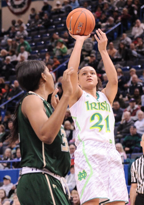 Notre Dame senior All-America guard Kayla McBride (pictured) and former Fighting Irish All-America guard Skylar Diggins ('13) have been selected to participate in the USA Basketball Women's National Team mini-camp Oct. 4-6 in Las Vegas.