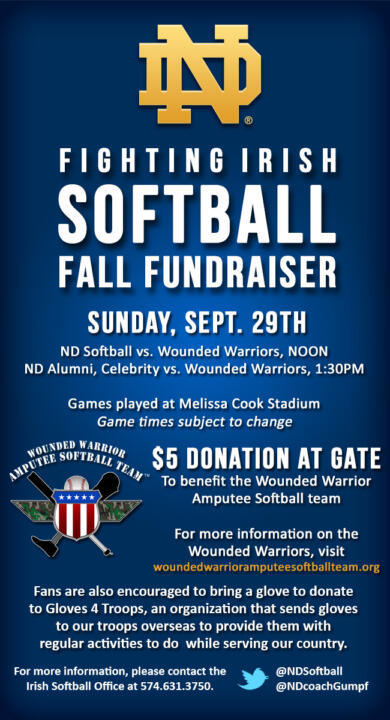 The Notre Dame softball team hosts the Wounded Warrior Amputee Softball Team Sunday at Melissa Cook Stadium