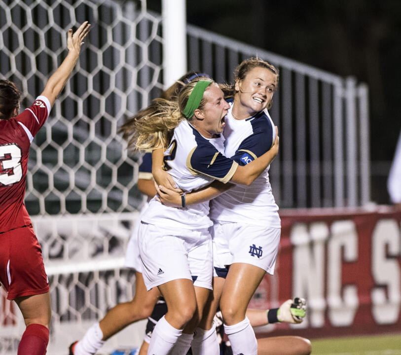Junior defender Sammy Scofield (right) scored one of the most dramatic goals in Notre Dame women's soccer history, connecting with :03 left to give the #7/4 Fighting Irish a 1-0 win over Syracuse Thursday night at Alumni Stadium.