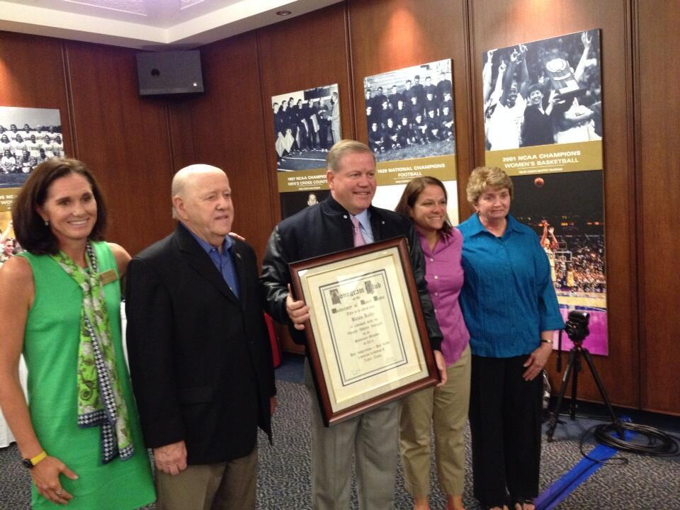 The Monogram Club awarded a surprise honorary Monogram to Irish football head coach Brian Kelly at the Club's Fall Board Meeting on Friday.